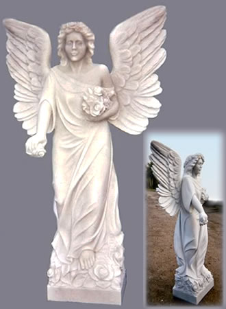 Angel: Standing at five feet tall this statue was sculpted by Scott Taylor top UK stone sculptor & stonemason from a solid block of Italian Carrara Marble. The block was supplied by Alex Bernardi of Bernardi Marmi